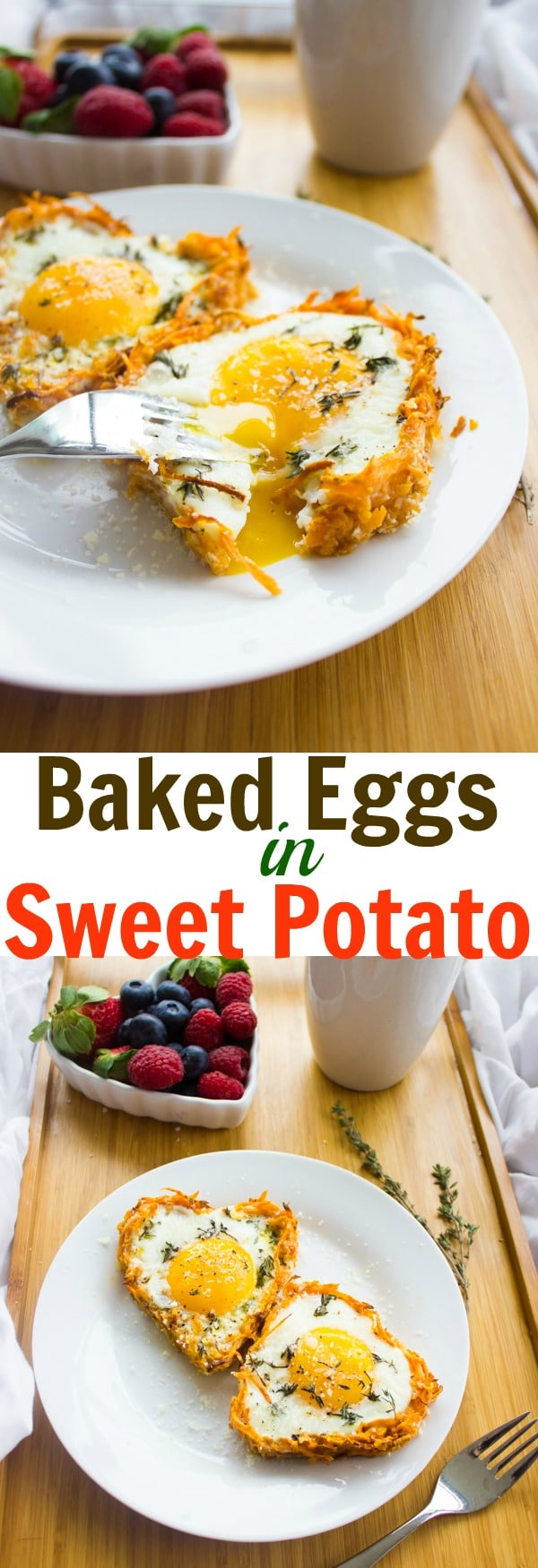 Baked Eggs in Sweet Potatoes / This recipe for Baked Eggs in Sweet Potato Crusts is lusciously delicious, super easy, healthy and takes only 15 minutes to make! Serve it on Valentine's Day for breakfast in bed or make it for a cozy holiday morning brunch. #breakfastrecipes, #bakedeggs, #brunchrecipes, #healthybreakfast