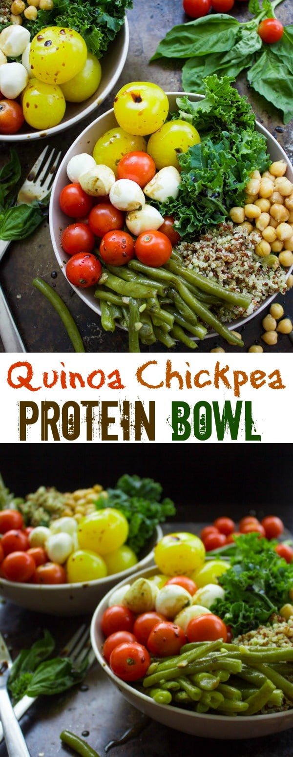 Quinoa Chickpea Protein Bowls - This colourful protein bowl is packed full of good-for-you ingredients, like chickpeas, kale, tomatoes, bocconcini cheese and quinoa and then drizzled with an easy basil-scented balsamic dressing. A healthy protein-packed meal that can be prepped ahead of time. | www.twopurplefigs.com | #healthy, #protein, #vegetarian, #easy, #mealprep, #salad