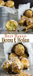 Baked Donut Holed with Cinnamon Sugar