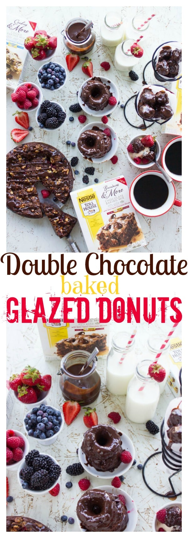 Baked Double Chocolate Glazed Donuts - these are a chocoholic's dream! Divine melt in your mouth donuts studded with chocolate chips and drizzled with a velvety smooth two-ingredient chocolate sauce. #donuts, #glazed, #chocolate, #kids,