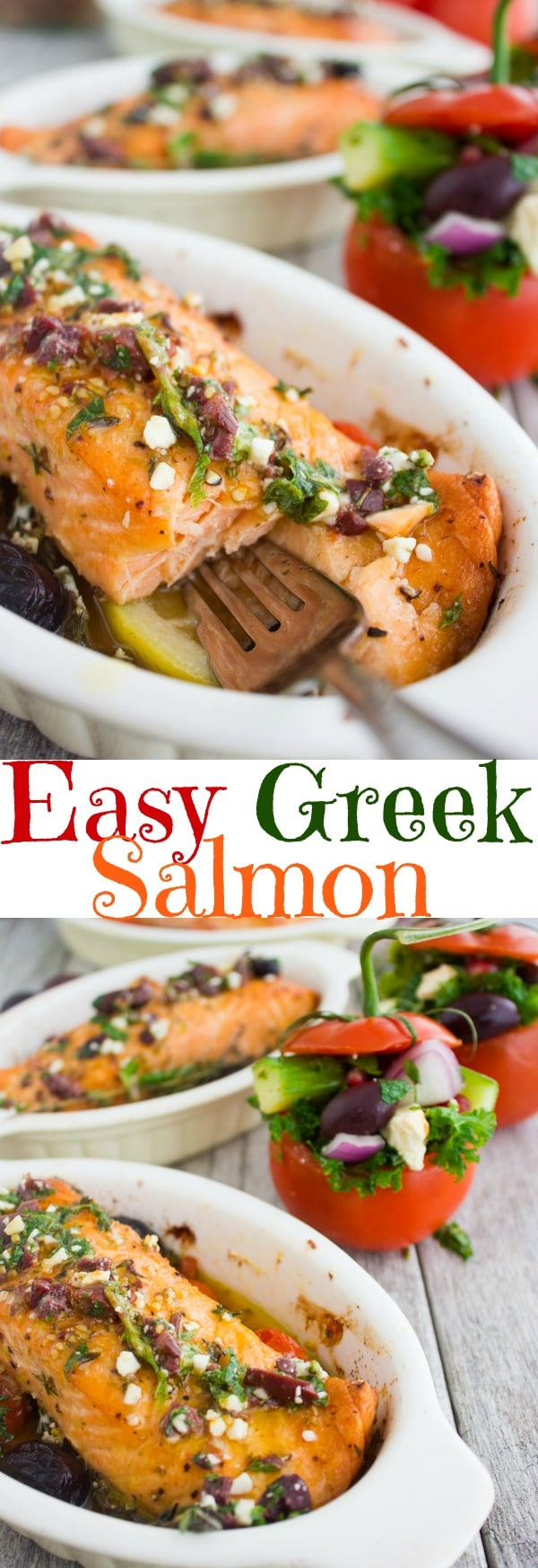Baked Salmon with Greek Dressing | This Baked Salmon recipe is a real dinner party saver! Drizzled with a Greek Dressing while still warm, it absorbs all those gorgeous Mediterranean flavours. Serve them with my Kale Greek Salad Stuffed Tomatoes for an unforgettable feast. #salmon, #salmonrecipes, #lowcarbdinner, #Greek, #dinnerparty, #baked