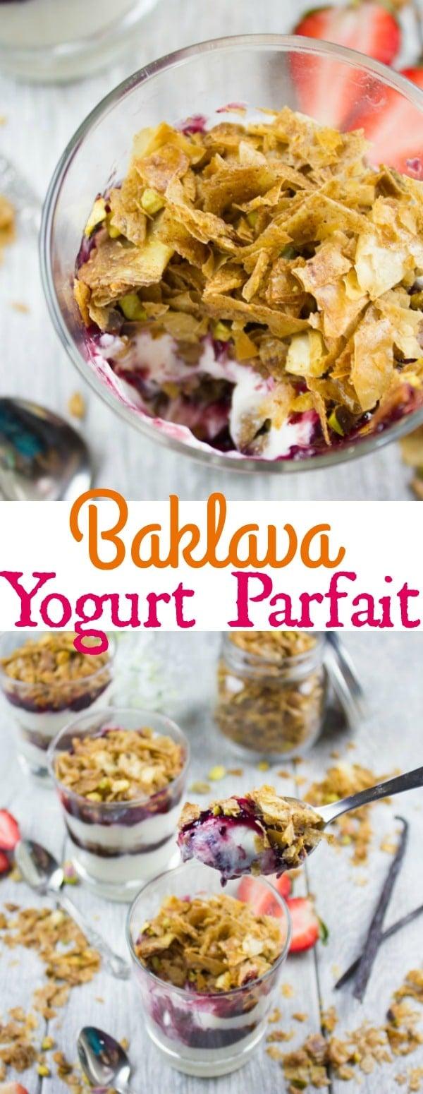 Baklava Yogurt Parfait with Homemade Baklava Crumbles - a Middle Eastern Twist on a classic yogurt parfait using vanilla yogurt, berry jam and a crunchy homemade baklava topping with crunchy phyllo dough and pistachios! #breakfast, #dessert, #parfait, #baklava, #mealprep