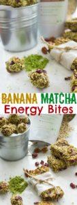 Banana Matcha Engergy Bites and Bars - Pin