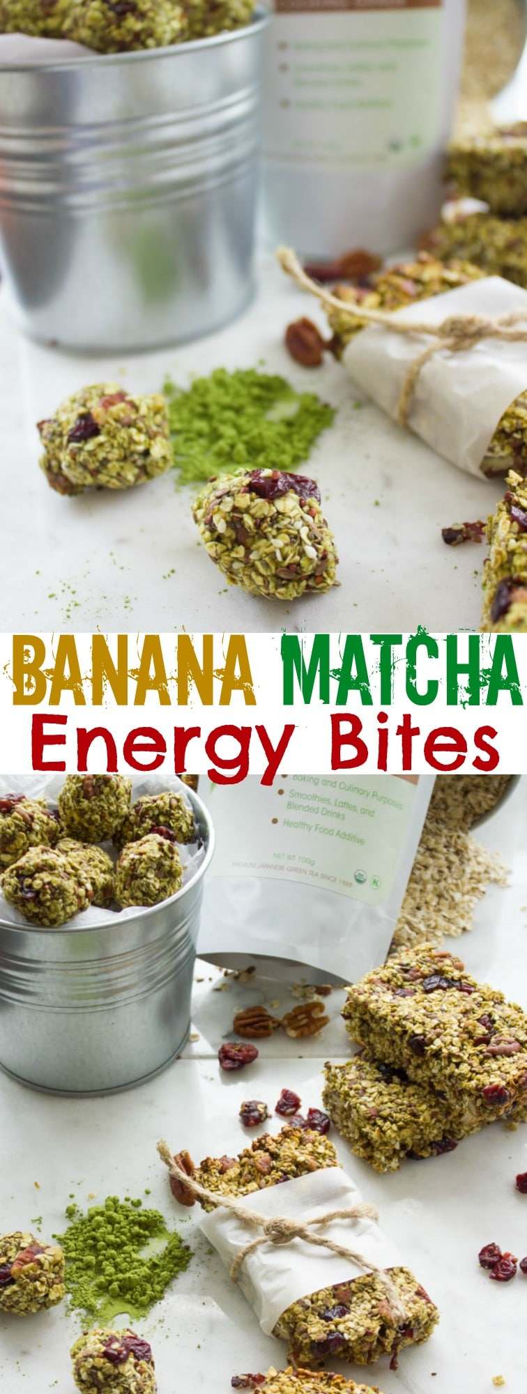 Banana Matcha Energy Bites   These are loaded with seeds, nuts and cranberries and naturally sweetened andflavoredwith bananas—so no sugar added.  Shape them into balls or granola bars for the perfect healthy on-the-go breakfast or snack! Slightly crispy on the outside and ultra chewy on the inside, these are so much better than any store-bought granola bar and so easy to make! #breakfast, #homemade, #superfood, #realfood, #snack,