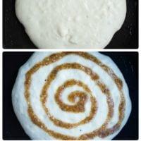 Banana Swirl Cinnamon Roll Pancakes - Pin