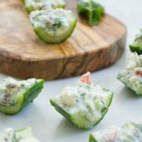 Best Feta Cucumber Salad Bites | These feta cream-stuffed cucumber bites make for the best healthy low carb appetizer or snack for parties | www.twopurplefigs.com| #healthy, #lunches, #keto, #lowcarb, #appetizer, #cleaneating, #simple