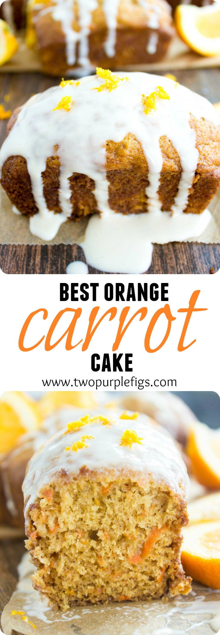 Best Orange Carrot Cake | Why is this best orange carrot cake recipe? It's light as air, very tender, moist, fluffy and studded with carrots. It has an extra boost offlavorand freshness from the orange and a faint hint of cinnamon spice. Drizzled with orange cream cheese icing, it's carrot cake perfection! #carrotcake, #Easter, #mini, #loaf, #dessert, #easy,
