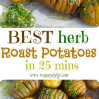 Best Herb Roast Potatoes | This is simply the best recipe for oven roasted potatoes. Picture herb butter smothered Hasselback-style potatoes roasted till crispy on the outside and tender on the inside. Easy to make and simply the perfect side dish for steak or roasts.| www.twopurplefigs.com | #crispy, #oven, #potatoes, #russet, #herb, #foracrowd, #seasoned, #baked, #vegetarian
