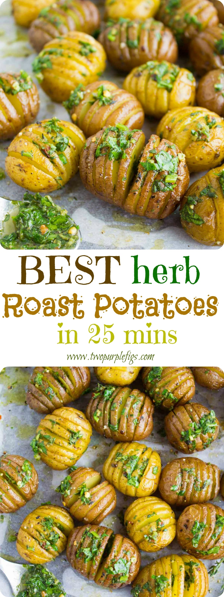 Best Herb Roast Potatoes   This is simply the best recipe for oven roasted potatoes. Picture herb butter smothered Hasselback-style potatoes roasted till crispy on the outside and tender on the inside. Easy to make and simply the perfect side dish for steak or roasts.  www.twopurplefigs.com   #crispy, #oven, #potatoes, #russet, #herb, #foracrowd, #seasoned, #baked, #vegetarian