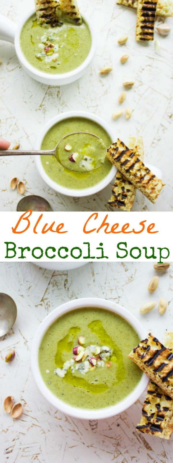 Blue Cheese Broccoli Soup | Try this light and silky smooth broccoli soup - completely made from scratch. The addition of blue cheese and a pistachio topping makes this simple soup elegant enough to serve at any dinner party! Use cashew cheese to make this a vegan broccoli soup.#soup, #easy, #healthy, #elegant, #vegetarian, #cleaneating