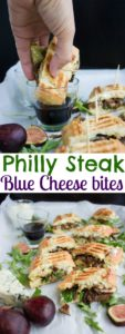 Blue Cheese Philly Steak Sandwich Bites | recipe is a perfect pick for lovers of steak, sandwiches and finger food! The steak, blue cheese, fresh figs and arugula complement each other beautifully in this delicious Steak Sandwich! | www.twopurplefigs.com | #gourmet, #easy, #grilled, #bbq, #lunches