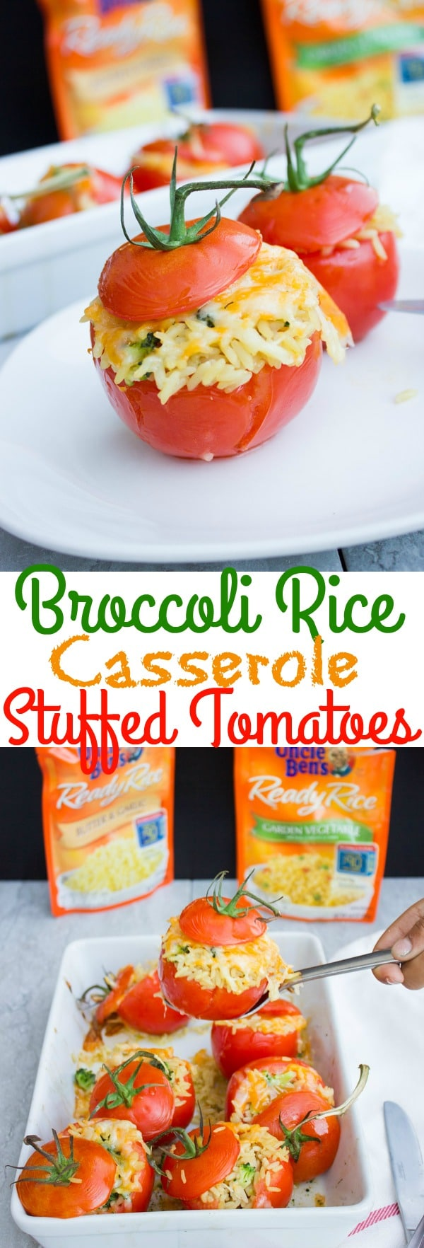 This Broccoli Rice Casserole Stuffed Tomatoes recipe makes for a quick, easy and light summer lunch dinner! With only 4 ingredients needed, the whole family can help to prepare this simple, healthy veggie dish! #appetizers, #stuffedtomatoes, #vegetarianrecipes, #kidsfriendly