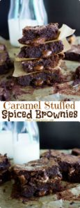 Caramel Stuffed Spiced Brownies - a cayenne-spiced, fudgy brownie with loads of golden caramel oozing out of every bite! Easy to make from scratch and so addictive! | www.twopurplefigs.com | #easy, #fromscratch, #brownie, #baking, #dessert, #fudgey,