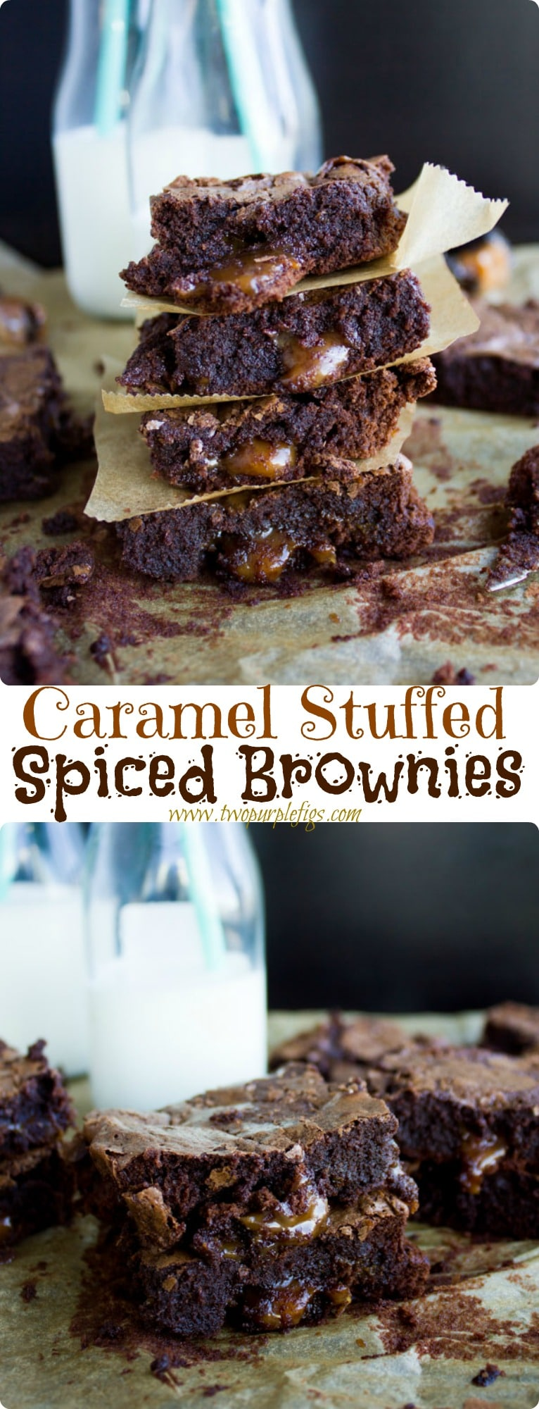 This Caramel Stuffed Spiced Brownies recipe is as every bit as intriguing and decadent as it sounds. Picture a cayenne-spiced, fudgy brownie with loads of golden caramel oozing out of every bite! #browniesrecipe, #caramelbrownies, #desserts, #lunchboxtreat