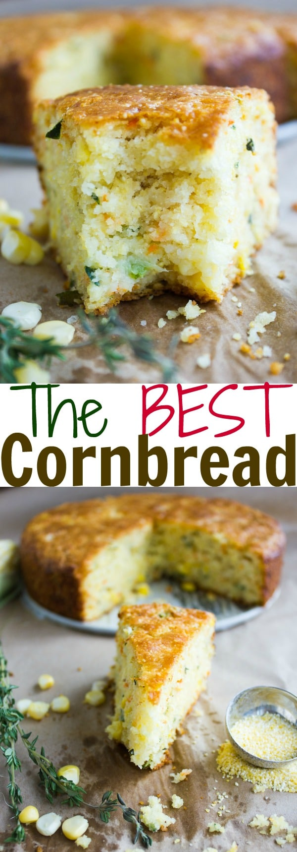 THE BEST CORNBREAD aka Cheddar Zucchini Cornbread | Take a break from regular cornbread and try this fluffy Cheddar and Zucchini Cornbread recipe. The batter can be whipped up within minutes and once baked, this fluffy, cheesy cornbread is the perfect accompaniment to any bbq, soup or stew!Also wonderful alongside a Thanksgiving Turkey #cornbread, #easy, #zucchini, #side, #bread, #Thanksgiving