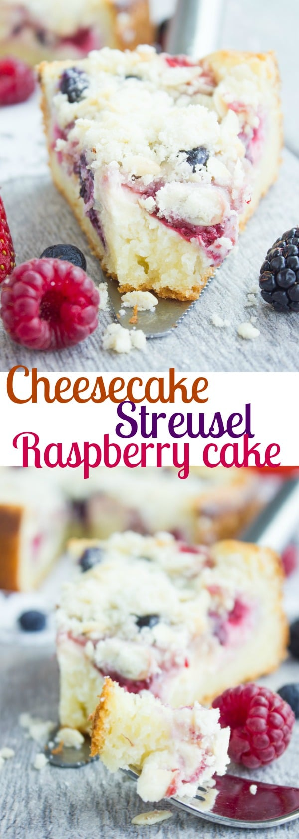 Cheesecake Streusel Raspberry Cake | This cake recipe is a keeper! Picture a buttery layer of vanilla sponge cake, topped with a thin layer of vanilla cheesecake, fresh berries and a generous amount of buttery almond streusel crumb. #cake, #cheesecake, #berries, #streusel, #almonds, #baking, #dessert