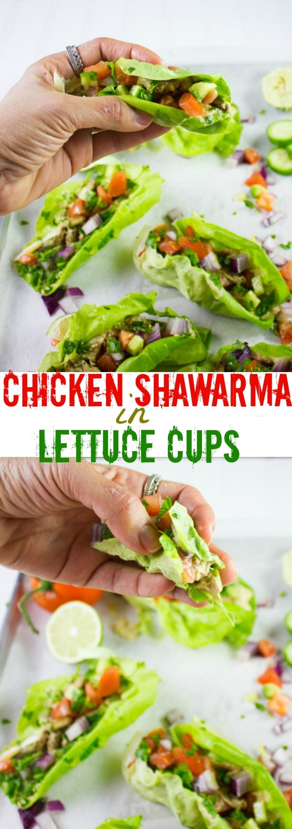 Craving succulent flavorful Chicken Shawarma? Serve these Chicken Shawarma Lettuce Cups as an easy healthy chicken recipe that packs all the flavors and spices of shawarma while still being low-carb and guilt-free! #lowcarb, #healthy, #chicken, #dinner, #lunch, #diet, #easy