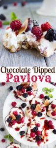 Chocolate Dipped Mini Pavlova | Make this easy recipe for pavlova nests filled with vanilla whipped cream, fresh fruit and raspberry sauce as a romantic dessert for Valentine's Day or any other party! |www.twopurplefigs.com| #easy, #fruit, #pavlova, #meringue, #valentinesday, #australian, #romatic, #light,