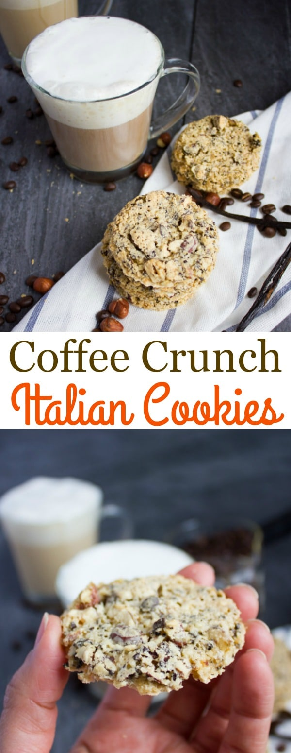 Coffee Crunch Italian Cookies - these simple cookies are light as air, delicately crispy, loaded with chunks of coffee beans and hazelnuts, and not too sweet! The best thing? They are easy to make and only require a handful of ingredients! #easy, #cookies, #Italian, #coffee, #snack