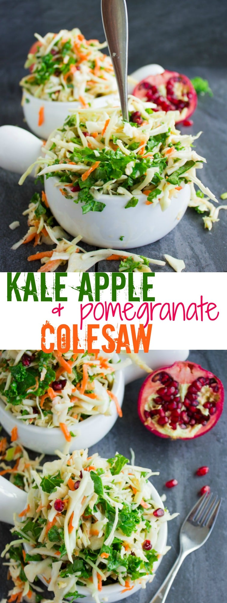 Coleslaw with Kale, Apple & Pomegranate | This light and healthy Coleslaw with Kale, Apples and Pomegranate is one of my favorite slaw recipes. It's refreshing and zesty enough to be served as a side salad for any meal, yet at the same time sufficiently filling and satisfying to make your perfect low-carb lunch. #side, #healthy, #thanksgiving, #salad, #healthy, #coleslaw, #dressing