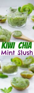 Kiwi Chia Mint Slush | This refreshing homemade Slushy recipe will keep you cool all summer long! There's no sugar or dairy added to this fruit slushy recipe making this a healthy, vegan and low-cal treat for hot summer days! | www.twopurplefigs.com | #summer, #refreshing, #homemade, #nonalcoholic, #summer, #slush