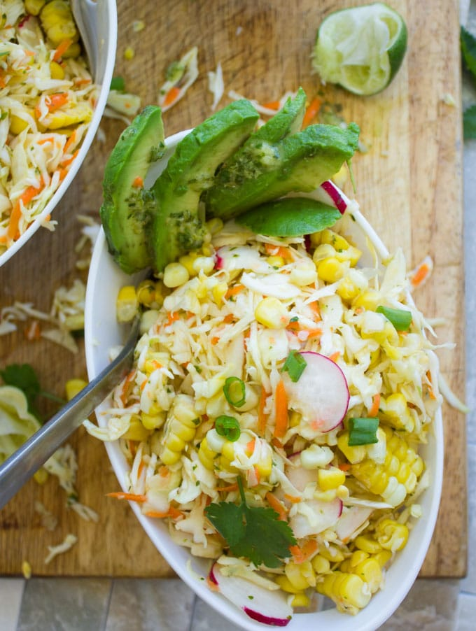 Corn Coleslaw Recipe with cabbage, corn, radish, avocado, lime and cilantro