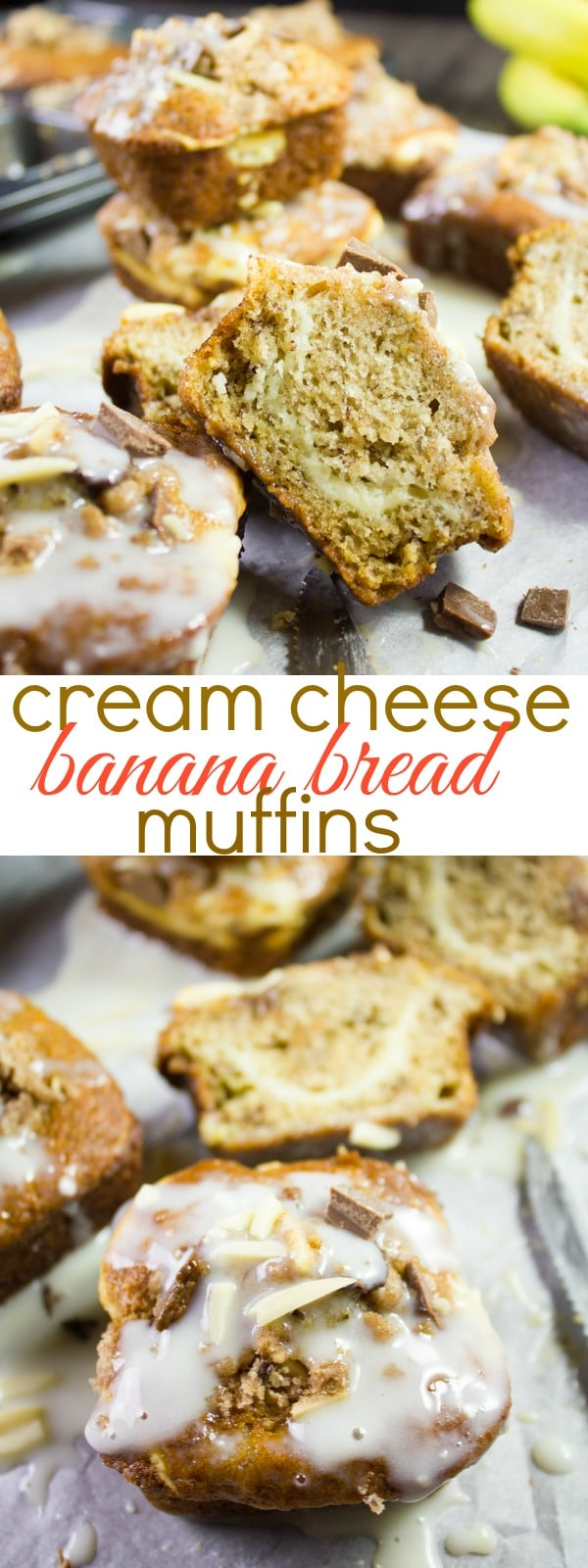 What could be better than a batch of oven-warm banana bread muffins? Maybe a batch of banana bread muffins with a rich and tangy cream cheese swirl and icing on top? #bananabreadmuffins, #creamcheeseswirl