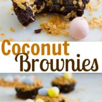 Coconut Chocolate Fudge Brownies - Pin