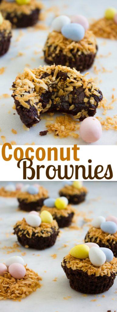 Coconut Chocolate Fudge Brownies - Pin