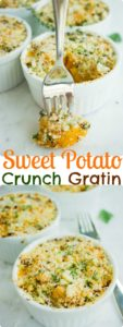 Sweet Potato Gratin with Crunchy Parmesan Crumble Topping