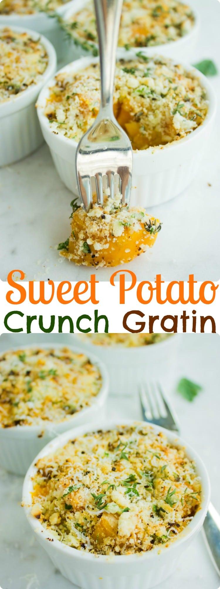 Sweet Potato Gratin with Crunchy Parmesan Crumble Topping
