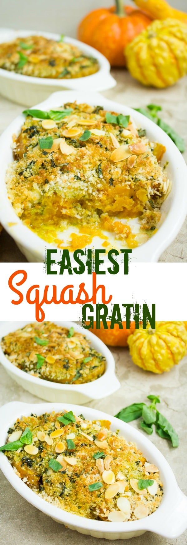 This easy Butternut Squash Gratin features tender, basil pesto flavored roasted butternut squash with a basil crunch almond topping. The perfect Thanksgiving side dish, ready in just 20 mins. #squashcasserole, #gratin, #roastedbutternutsquash