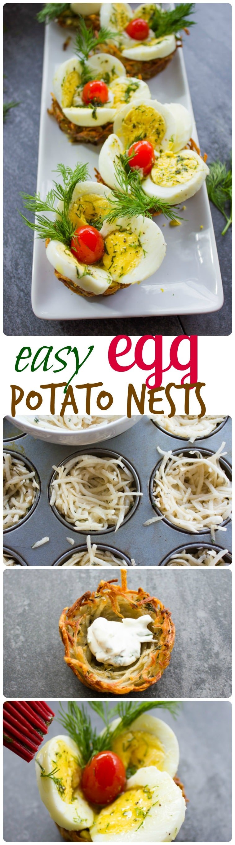 This Easter egg tart potato nests recipe is a must-have for your Easter table this year! A perfect finger food to share and enjoy with family and friends. #easterrecipes, #easterbrunch, #brunchrecipes,
