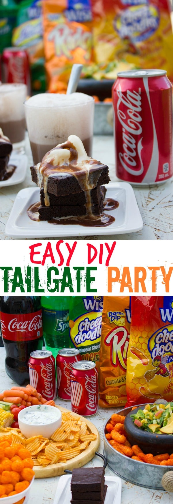 Easy DIY Tailgate Party Food Tutorial | a bunch of my favorite easy recipes to help you throw a tailgate party for a crowd in a breeze! It's a combo of a quick Herb Yogurt Dip, a sweet and spicy Peach and Avocado Salsa and dark chocolate Coca-Cola Brownies! #cold, #easy, #dessert, #appetizers, #brownies, #outdoors