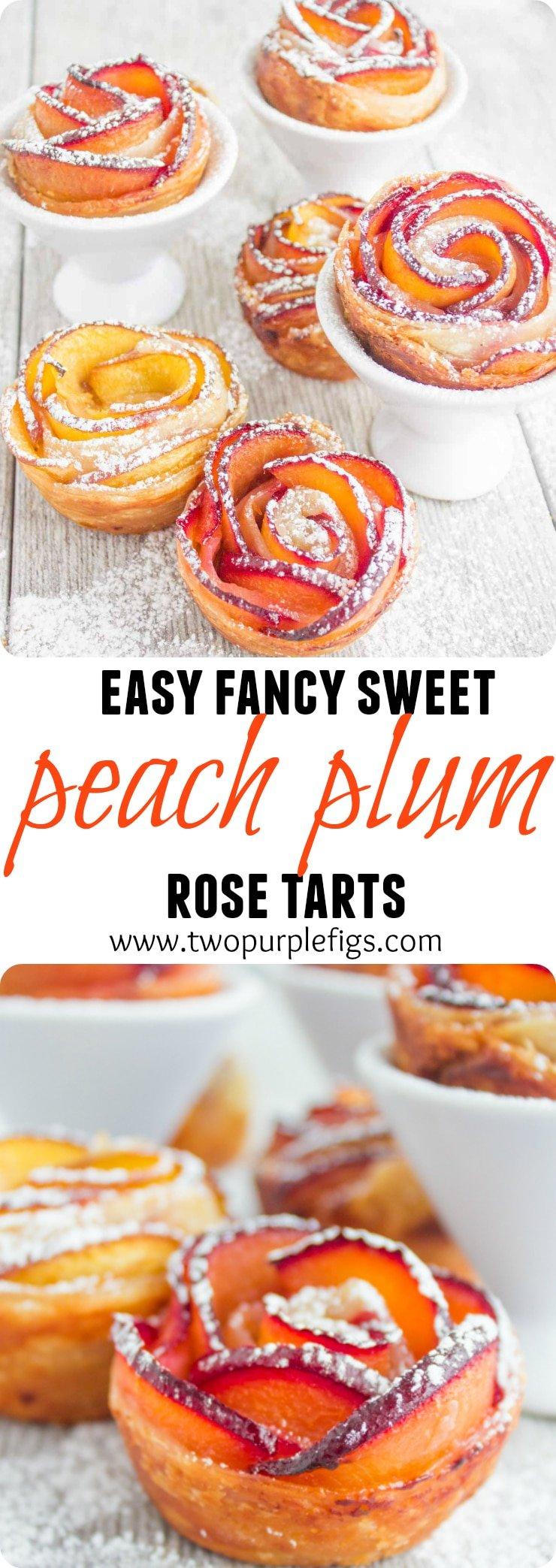 Peach Plum Rose Tarts - pin