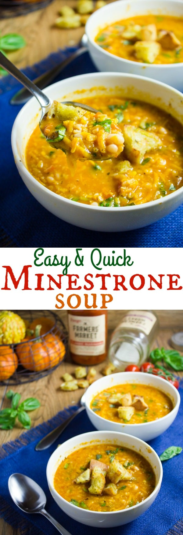 Veggie Minestrone Soup - this Veggie Minestrone is a seasonal spin on the classic Italian Minestrone using fall vegetables like butternut squash, cabbage, sweet potatoes and mushrooms. All veggies are shredded in a food processor allowing for this quick fall soup to be served in only 30 mins! #healthy, #easy, #vegetarian, #minestrone, #fall
