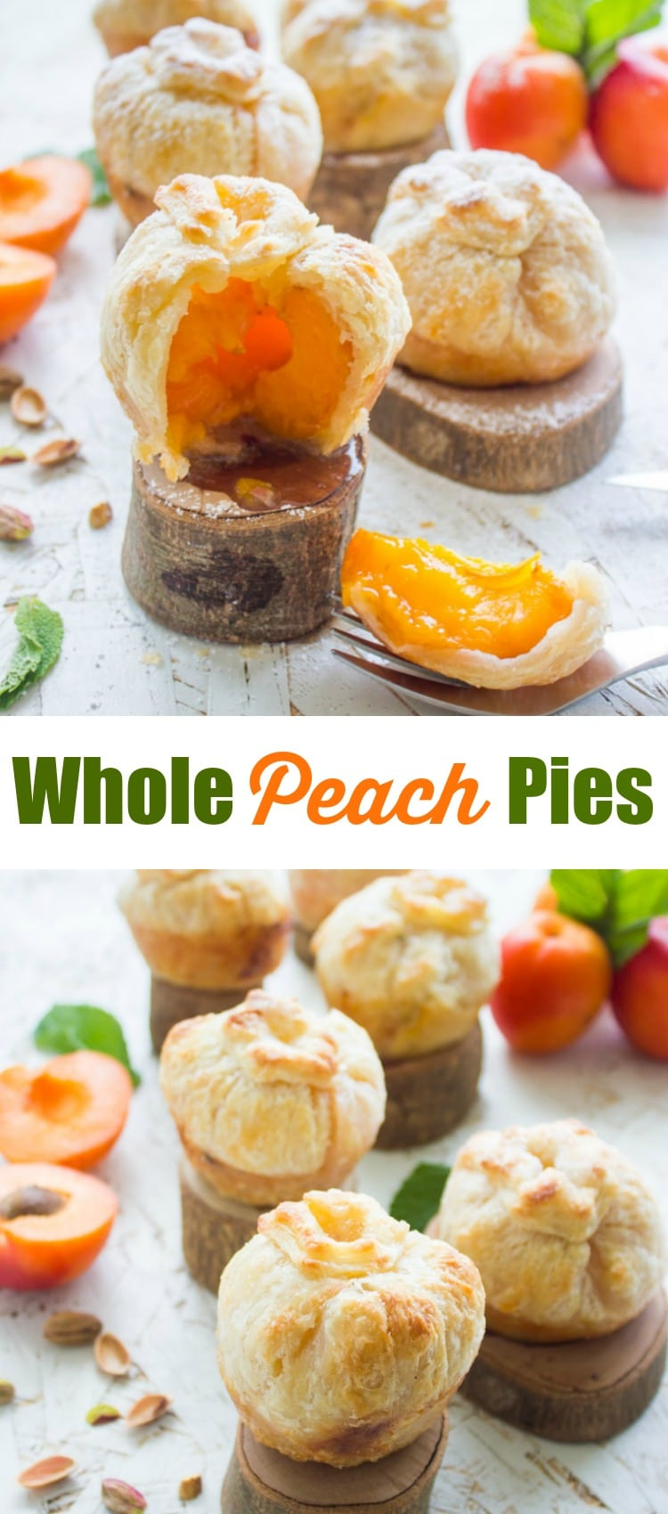 Whole Peach & Apricot Pies | This summer, why not serve your guests an individual whole peach pie or apricot pie instead of a slice of traditional double-crust stonefruit pie? It makes for a prettier presentation and takes way less time to bake! #peachpie, #apricotpie, #stonefruitdesserts