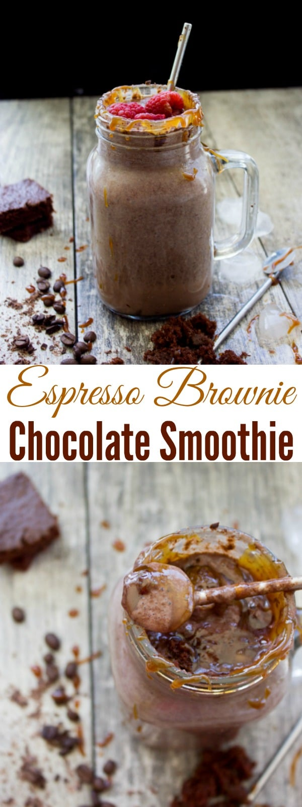Espresso Brownie Chocolate Smoothie | A creamy caffein-spiked smoothie made with fresh espresso, crumbled brownies, dates, cocoa powder and a splash of milk. Kids and adults alike will be all over this chocolatey summer treat. #easy, #coffee, #dessert, #breakfast, #brownie, #smoothie