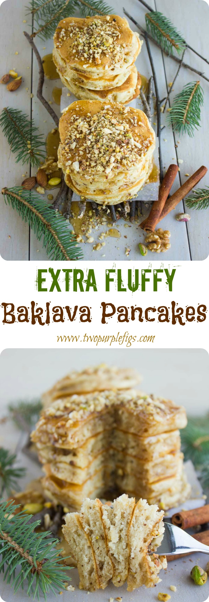 Fluffy Baklava Pancakes| North America meets the Middle East in these fluffy orange-scented Baklava Pancakes topped with chopped nuts and drizzled with Canadian Maple Syrup! Serve these fluffy buttermilk pancakes as a special breakfast treat and you'll be declared mom of the year! #breakfast, #brunch, #pancakes, #baklava