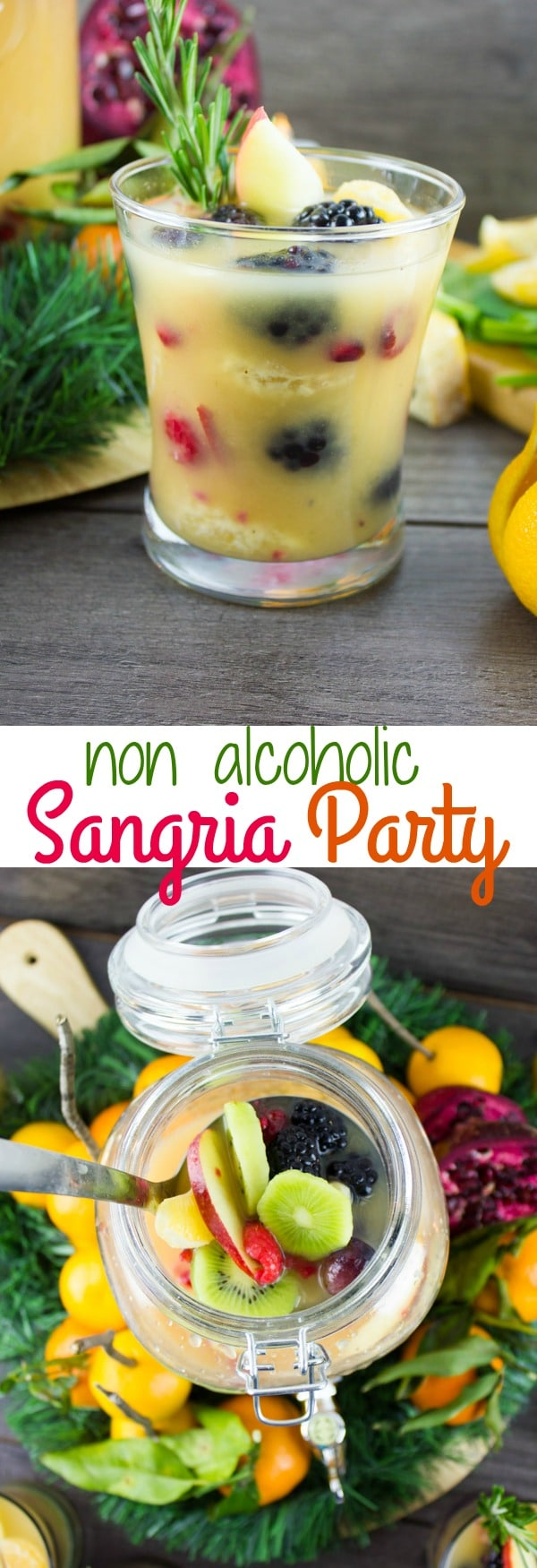 Learn how to make the best Non-Alcoholic Sangria using my step-by-step guide and serve this easy holiday cocktail with my Orange Salmon Bites for a showstopping Holiday Party! #sangria, #party, #holidays, #drinks, #healthy, #nonalcoholic, #easy, #festive