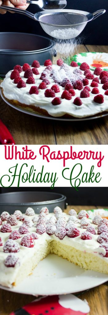 Fluffy White Raspberry Holiday Cake