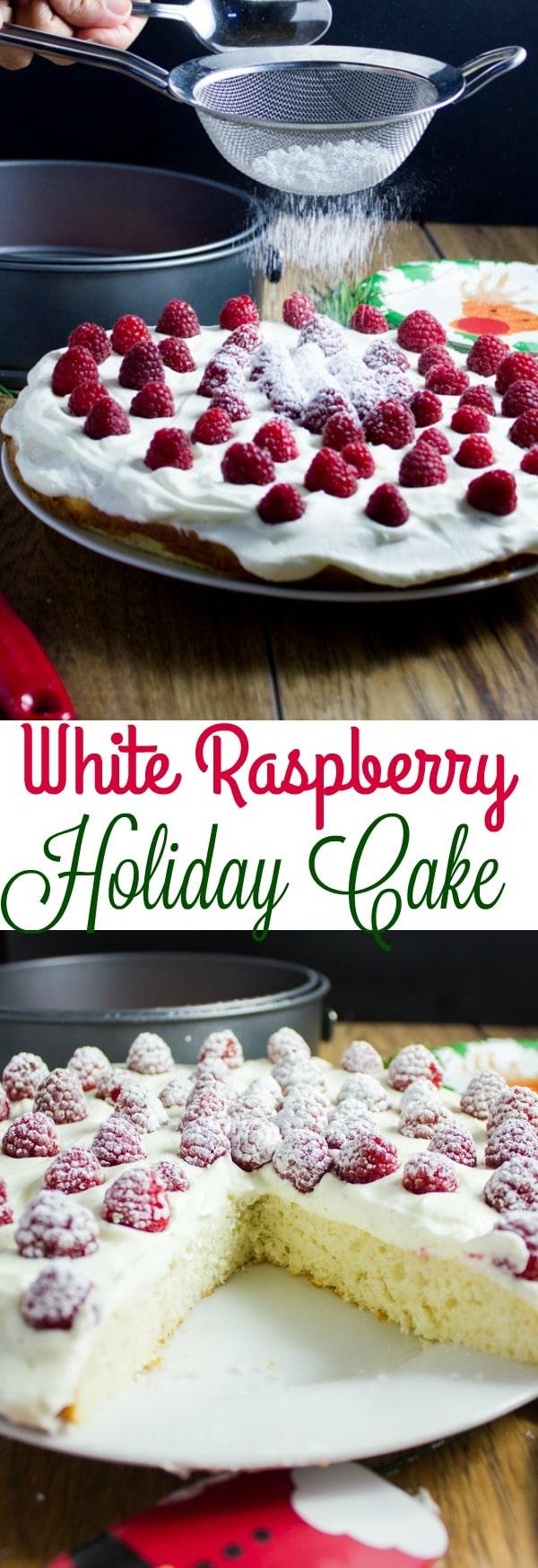 Fluffy White Raspberry Holiday Cake
