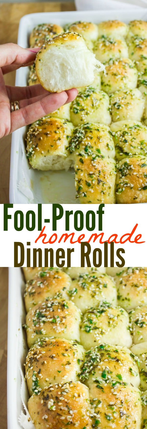 Fool-Proof Homemade Dinner Rolls | Make these Homemade Dinner Rolls once and you will never reach for any other bread recipe! These are soft, pillowy fluffy and you can season them with different herbs, cheese, or spices to get a completely different flavor every single time! The easiest and most versatile bread dough out there! #bread, #rolls, #baking, #easy, #side
