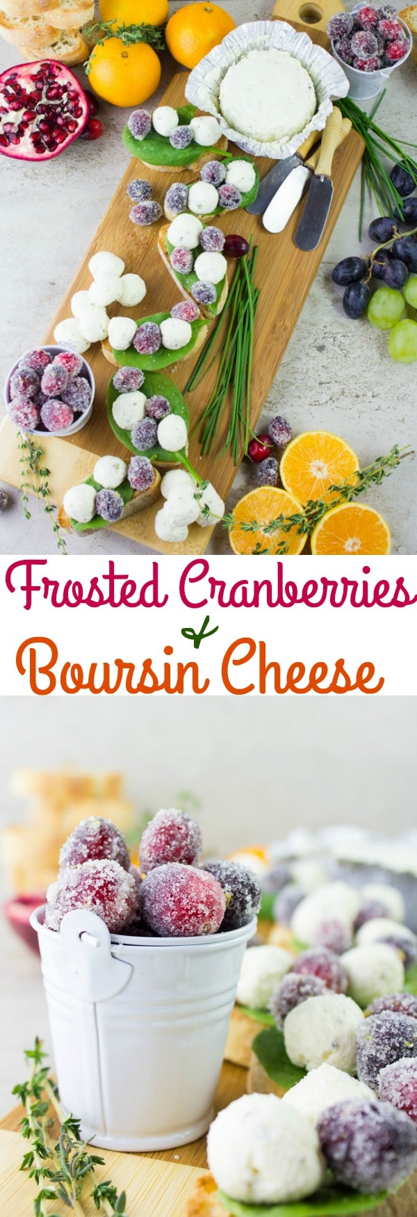 Learn how to make Frosted Cranberries using my step-by-step-guide and pair these fruity gems with little boursin cream cheese balls to make a festive cheese crostini appetizer! #appetizer, #festive, #christmas, #thanksgiving, #easy, #diy
