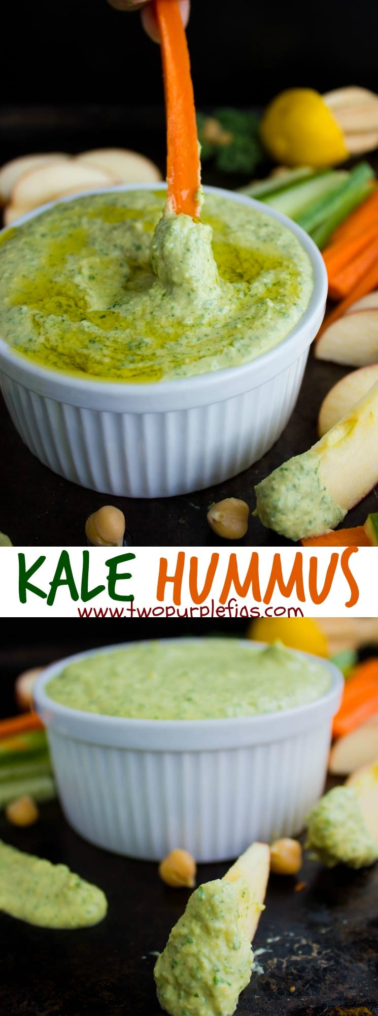 Kale Hummus | Embrace your inner green goddess with this Vegan, Gluten-free Garlic Kale Hummus Dip! It's a healthy, high-protein snack perfect for any time of the day. It can also be served as an easy appetizer to share with friends. #hummus, #kale, #dip, #appetizer, #easy, #vegan, #glutenfree, #realfood