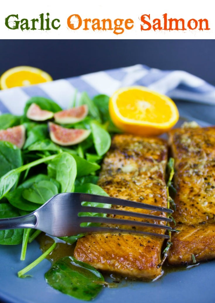 Garlic Orange Salmon | Want to learn how to cook perfect pan-seared salmon every time? Try my easy recipe for Orange Seared Salmon. All you need in 15 minutes and a few ingredients. #salmonrecipes, #orangesalmon, #seafoodrecipes, #seared, #lowcarb