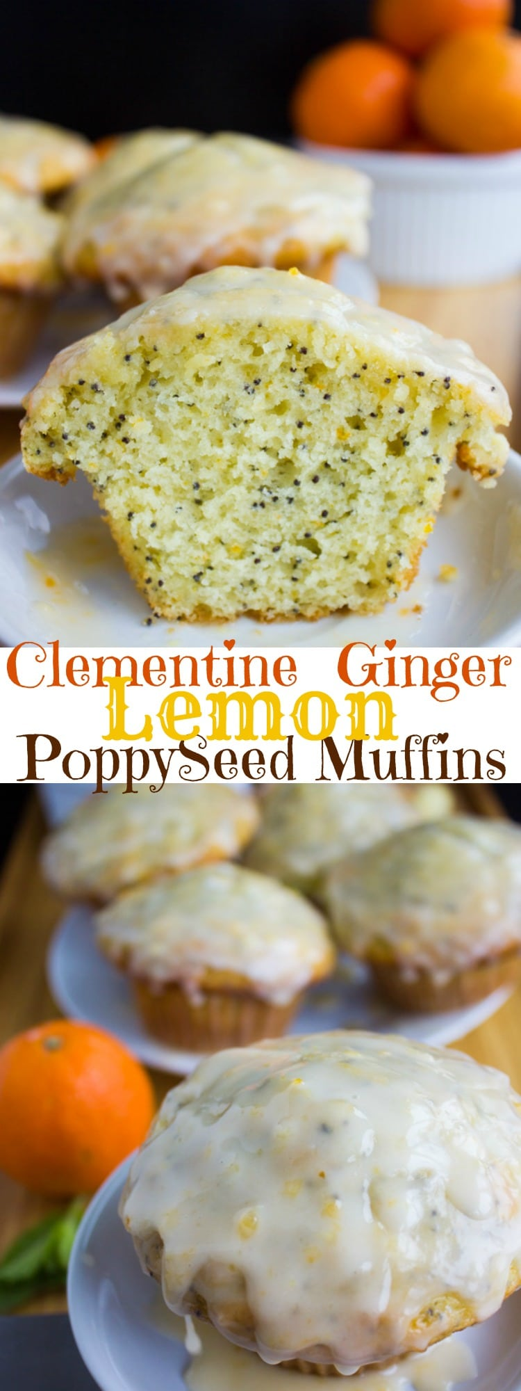 Clementine Ginger Lemon Poppy Seed Muffins | If you love Lemon Poppy Seed Muffins you got to try this seasonal twist with clementine zest, fresh ginger and a zesty and sweet clementine glaze! This easy one-bowl muffins recipe is the perfect breakfast on a cold winter morning.#brunch, #breakfast, #muffins, #lemonpoppyseed, #baking, #easy