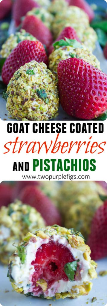 Goat Cheese Coated Strawberries with Pistachios | This easy healthy finger food recipe is perfect for festive occasions that require light bite sized snacks. | www.twopurplefigs.com | #healthy, #cleaneating, #appetizer, #pistachios, #glutenfree, #valentinesday