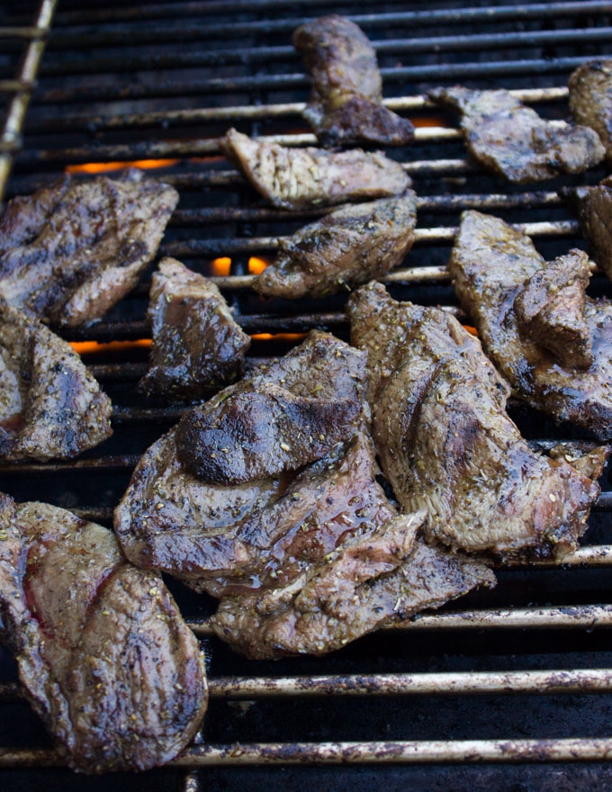 lamb pieces on the grills