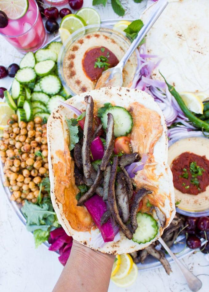 assembling shawarma sandwich